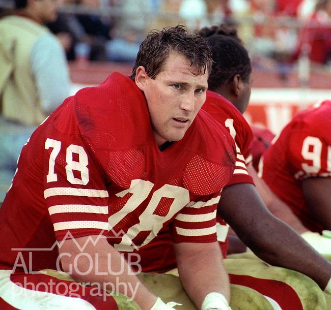 San Francisco 49ers vs New Orleans Saints at Candlestick Park Sunday, December 11, 1988..49ers beat Saints 30-17.San Francisco 49er defensive end Pierce Holt (78).
