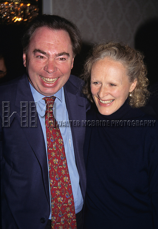 Glenn Close, and Andrew LLoyd Webber pictured at the 61st Annual Drama League Awards for the theatre at the Plaza Hotel in New York City on March 5, 1995.