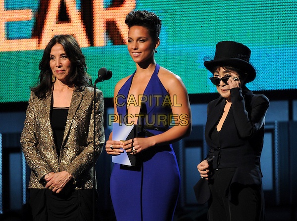 LOS ANGELES, CA - JANUARY 26 : (L-R) Olivia Harrison, Alicia Keys and Yoko Ono speak onstage at The 56th Annual GRAMMY Awards at Staples Center on January 26, 2014 in Los Angeles, California. <br /> CAP/MPI/PG<br /> &copy;PGFMicelotta/MediaPunch/Capital Pictures