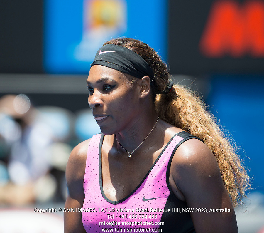 SERENA WILLIAMS (USA)<br /> Tennis - Australian Open - Grand Slam -  Melbourne Park -  2014 -  Melbourne - Australia  - 15th January 2014. <br /> <br /> &copy; AMN IMAGES, 1A.12B Victoria Road, Bellevue Hill, NSW 2023, Australia<br /> Tel - +61 433 754 488<br /> <br /> mike@tennisphotonet.com<br /> www.amnimages.com<br /> <br /> International Tennis Photo Agency - AMN Images