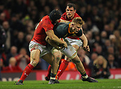 2nd December 2017, Principality Stadium, Cardiff, Wales; Autumn International Rugby Series, Wales versus South Africa; Dan du Preez of South Africa is tackled by Leigh Halfpenny of Wales