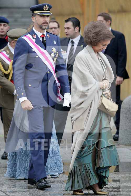 Military Christmas at Madrid Royal Palace. Prince Felipe and Queen Sofia...Photo: MAC / ALFAQUI