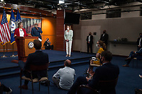 House Speaker Nancy Pelosi (D-Calif) attends a press conference on the Trump Administration's response to, and House Democrats' plan for COVID-19 testing in the House Visitors Center Studio at the U.S. Capitol in Washington, DC, Wednesday, May 27, 2020. Credit: Rod Lamkey / CNP/AdMedia