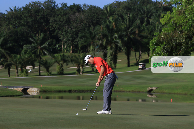 Ben Leong (MAS) on the 4th green during Round 4 of the Maybank Championship on Sunday 12th February 2017.<br /> Picture:  Thos Caffrey / Golffile<br /> <br /> All photo usage must carry mandatory copyright credit     (&copy; Golffile | Thos Caffrey)