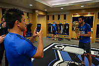 San Jose, CA - Monday July 10, 2017: Andres Imperiale, NBA Trophy prior to a U.S. Open Cup quarterfinal match between the San Jose Earthquakes and the Los Angeles Galaxy at Avaya Stadium.