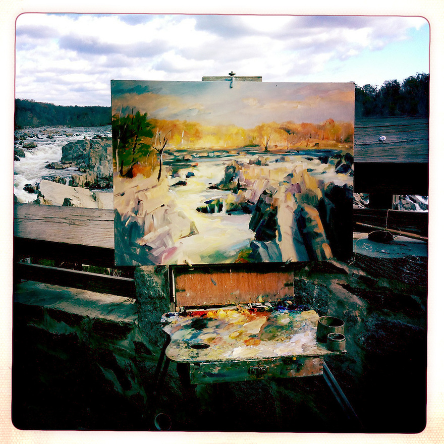 A painting in progress At Great Falls National Park, where the Potomac River builds up speed and force as it falls over a series of steep, jagged rocks and flows through the narrow Mather Gorge.  Great Falls Park is 800-acre park 15 miles west of the Nation's Capital..