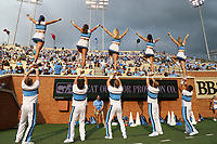 WINSTON-SALEM, NC - SEPTEMBER 13: University of North Carolina cheerleaders entertain the fans during a game between University of North Carolina and Wake Forest University at BB