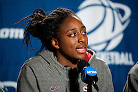 SPOKANE, WA - MARCH 27, 2011: Nnemkadi Ogwumike, during the off-day press conference, Stanford Women's Basketball , NCAA West Regionals on March 27, 2011.