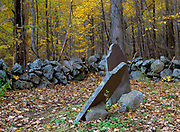 Tower Hill Cemetery at Pawtuckaway State Park in Nottingham, New Hampshire. This cemetery dates back to the 19th century mountain settlement that was once in the area.