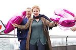 """15. 01.2019, Hotel im Wasserturm, Kaygasse 2, Koeln,  GER, Pressefototermin ZDF 25. Film Krimireihe Marie Brand, """"und das Spiel mit dem Glueck"""", <br /> <br /> im Bild / picture shows: <br /> Mariele Millowitsch Schauspielerin und Hauptdarstellerin in der Serie """"Marie Brand"""", Hinnerk Schönemann / Schoenemann Schauspieler und Assistent von Marie Brand,  auf dem Dach des Hotels mit 25 Jahr-Luftballons <br /> <br /> Foto © nordphoto / Meuter"""