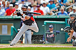 13 March 2012: Atlanta Braves outfielder Jose Constanza evades a pitch during a Spring Training game against the Miami Marlins at Roger Dean Stadium in Jupiter, Florida. The two teams battled to a 2-2 tie playing 10 innings of Grapefruit League action. Mandatory Credit: Ed Wolfstein Photo