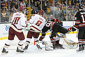 Jimmy Hayes (BC - 10), Edwin Shea (BC - 8), Tyler McNeely (Northeastern - 94), John Muse (BC - 1), Wade MacLeod (Northeastern - 19) - The Boston College Eagles defeated the Northeastern University Huskies 5-4 in their Hockey East Semi-Final on Friday, March 18, 2011, at TD Garden in Boston, Massachusetts.