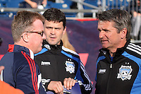 New England Revolution head coach Steve Nicol and San Jose Earthquakes head coach Frank Yallop and San Jose Earthquakes assistant coach Mark Watson before the game.  The New England Revolution and San Jose Earthquakes play to a scoreless draw at Gillette Stadium on May 15, 2010