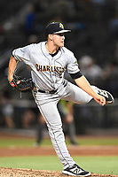 Pitcher Trevor Lane (5) of the Charleston RiverDogs delivers a pitch in a game against the Columbia Fireflies on Friday, June 9, 2017, at Spirit Communications Park in Columbia, South Carolina. Columbia won, 3-1. (Tom Priddy/Four Seam Images)