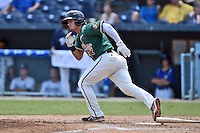 Greensboro Grasshoppers designated hitter Avery Romero #1 runs to first during a game against the  Asheville Tourists at McCormick Field June 29, 2014 in Asheville, North Carolina. The Grasshoppers defeated the Tourists 4-0. (Tony Farlow/Four Seam Images)