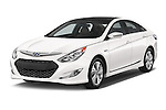 2015 Hyundai Sonata  Hybrid 4 Door Sedan angular front stock photos of front three quarter view