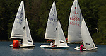 MIDDLEBURY, CT - 22 AUGUST 2015 - 082215JW09.jpg -- Sailboats round the first marker during first race of The Board of Governor's Regatta at Lake Quassapaug Saturday afternoon. Jonathan Wilcox Republican-American