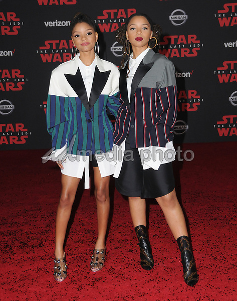 """09 December  2017 - Los Angeles, California - Halle Bailey, Chole Bailey. Premiere Of Disney Pictures And Lucasfilm's """"Star Wars: The Last Jedi"""" held at The Shrine Auditorium  in Los Angeles Photo Credit: Birdie Thompson/AdMedia"""