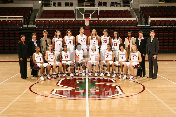 10 October 2006: Team photo: Top row (l to r): Marcella Shorty, Tara Vanderveer, Amy Tucker, Michelle Harrison, Morgan Clyburn, Kristen Newlin, Jayne Appel, Brooke Smith, Jillian Harmon, Charmin Smith, Karen Middleton, Kelly Clark. Bottom Row: Markisha Coleman, JJ Hones, Melanie Murphy, Candice Wiggins, Clare Bodensteiner, Rosalyn Gold-Onwude, Cissy Pierce and Christy Titchenal on picture day at Maples Pavilion in Stanford, CA.