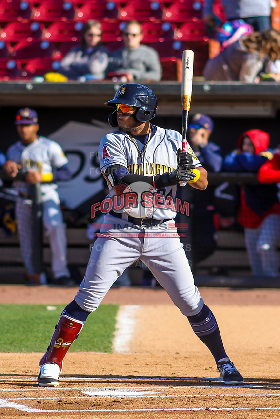 Burlington Bees third baseman Kevin Maitan (24) at bat during a Midwest League game against the Wisconsin Timber Rattlers on April 26, 2019 at Fox Cities Stadium in Appleton, Wisconsin. Wisconsin defeated Burlington 2-0. (Brad Krause/Four Seam Images)