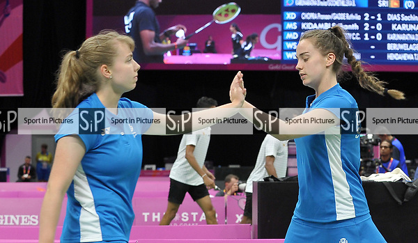 Julie MACPHERSON (SCO) and Eleanor O'DONNELL (SCO) celebrate in the womens doubles. Badminton. Mixed team event. XXI Commonwealth games. Carrara Sports hall 2. Gold Coast 2018. Queensland. Australia. 05/04/2018. ~ MANDATORY CREDIT Garry Bowden/SIPPA - NO UNAUTHORISED USE - +44 7837 394578