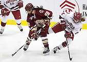 Mary Restuccia (BC - 22), Jillian Dempsey (Harvard - 14) - The Harvard University Crimson defeated the Boston College Eagles 5-0 in their Beanpot semi-final game on Tuesday, February 2, 2010 at the Bright Hockey Center in Cambridge, Massachusetts.