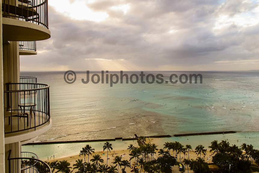 HONOLULU - (Monday, December 31, 2012) Overlooking Waikiki beach from the Marriott Hotel. Photo: joliphotos.com