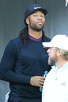NFL Arizona Cardinals wide receiver Larry Fitzgerald on the 1st tee at Spyglass Hill during Thursday's Round 1 of the 2018 AT&amp;T Pebble Beach Pro-Am, held over 3 courses Pebble Beach, Spyglass Hill and Monterey, California, USA. 8th February 2018.<br /> Picture: Eoin Clarke | Golffile<br /> <br /> <br /> All photos usage must carry mandatory copyright credit (&copy; Golffile | Eoin Clarke)