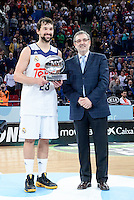 Real Madrid's Sergio Llull MVP of the finals during Quarter Finals match of 2017 King's Cup at Fernando Buesa Arena in Vitoria, Spain. February 19, 2017. (ALTERPHOTOS/BorjaB.Hojas)