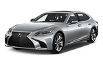 2019 Lexus LS 500h 4 Door Sedan angular front stock photos of front three quarter view