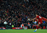 30th October 2019; Anfield, Liverpool, Merseyside, England; English Football League Cup, Carabao Cup, Liverpool versus Arsenal; Curtis Jones of Liverpool fires his penalty kick past Emiliano Martinez of Arsenal to put Liverpool through on penalties  - Strictly Editorial Use Only. No use with unauthorized audio, video, data, fixture lists, club/league logos or 'live' services. Online in-match use limited to 120 images, no video emulation. No use in betting, games or single club/league/player publications