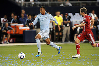 Teal Bunbury, Sporting KC...Sporting KC and Chicago Fire played to a scoreless tie in the inaugural game at LIVESTRONG Sporting Park, Kansas City, Kansas.