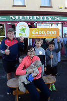 21-9-2017: Mary Murphy, Post Mistress, Rerrin Post Office on Bere Island in County Cork after she sold a 500,000 Euro Millions Plus ticket pictured celebrating on Thursday with her nephews, Brendain, Ultan and Olan Murphy.<br /> Photo: Don MacMonagle<br /> <br /> Issued on behlf of The National Lottery