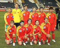 Starting eleven of the PRC WNT during an international friendly match against the USA WNT at PPL Park, on October 6 2010 in Chester, PA. The game ended in a 1-1 tie.