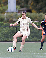 Boston College midfielder Maddie Payne (6) passes the ball. Pepperdine University defeated Boston College,1-0, at Soldiers Field Soccer Stadium, on September 29, 2012.