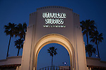 Entrance to Universal Studios Hollywood at night, Los Angeles, CA