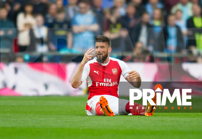 Arsenal's Olivier Giroud during the FA Cup Semi Final match between Manchester City and Arsenal at the Wembley  Stadium, Manchester, England on 23 April 2017. Photo by Andrew Aleksiejczuk / PRiME Media Images.
