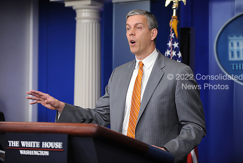United States Secretary of Education Arne Duncan speaks at the press briefing at the White House in Washington, DC, April 20, 2012  .Credit: Olivier Douliery / Pool via CNP