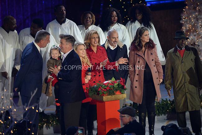 www.acepixs.com<br /> November 30, 2016  New York City<br /> <br /> Bill de Blasio, Carmen Baldwin, Alec Baldwin, Kate McKinnon, Hoda Kotb, Matt Lauer, Savannah Guthrie and Al Roker on stage at The Rockefeller Center Christmas Tree lighting ceremony on November 30, 2016 in New York City.<br /> <br /> <br /> Credit: Kristin Callahan/ACE Pictures<br /> <br /> <br /> Tel: 646 769 0430<br /> Email: info@acepixs.com