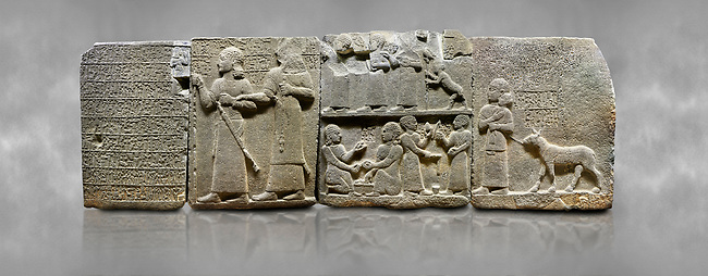 """Hittite monumental relief sculpted orthostat stone panel of Royal Buttress. Basalt, Karkamıs, (Kargamıs), Carchemish (Karkemish), 900-700 B.C. Anatolian Civilisations Museum, Ankara, Turkey.<br /> <br /> Hieroglyph panel1 (left) - Discourse of Yariris. Yariris presents his predecessor, the eldest son Kamanis, to his people. <br /> Second From left panel 2  -  King Araras holds his son Kamanis from the wrist. King carries a sceptre in his hand and a sword at his waist while the prince leans on a stick and carries a sword on his shoulder. <br /> Hieroglyphs reads; """"This is Kamanis and his siblings.) held his hand and despite the fact that he is a child, I located him on the temple. This is Yariris' image"""".  <br /> <br /> Panel 3 - This panels scene showing 8 out of 10 children of the King, the hieroglyphs reads as follows: """"Malitispas, Astitarhunzas, Tamitispas,Isikaritispas, Sikaras, Halpawaris, Ya hilatispas"""". Above, there are three figures holding knucklebones (astragalus) and one figure walking by leaning on a stick; below are two each figures playing the knucklebones and turning whirligigs.<br />  <br /> Panel 4 - The queen carries her youngest son. The hieroglyphs located above read; """"and this is Tuwarsais; the prince desired by the ruler, whose exclusiveness has been exposed"""". While the queen carries her son in her lap, she holds the rope of the colt coming behind with her other hand. The muscles of the colt are schematic. <br /> <br /> Against a grey art background."""
