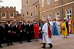 THE QUEEN LEAVING ETON SCHOOL 1990.