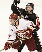 Danielle Welch (BC - 17), Stephanie Gavronsky (NU - 44) - The Boston College Eagles defeated the visiting Northeastern University Huskies 2-1 on Sunday, January 30, 2011, at Conte Forum in Chestnut Hill, Massachusetts.