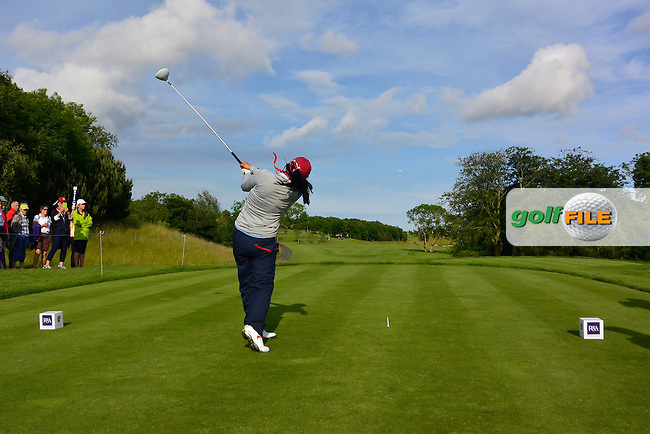 Mika Liu on the 12th tee during the Saturday Afternoon Fourballs of the 2016 Curtis Cup at Dun Laoghaire Golf Club on Saturday 11th June 2016.<br /> Picture:  Golffile   Thos Caffrey