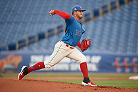 Clearwater Threshers starting pitcher Alejandro Requena (34) during a Florida State League game against the Tampa Tarpons on April 18, 2019 at Spectrum Field in Clearwater, Florida.  Clearwater defeated Tampa 10-3.  (Mike Janes/Four Seam Images)