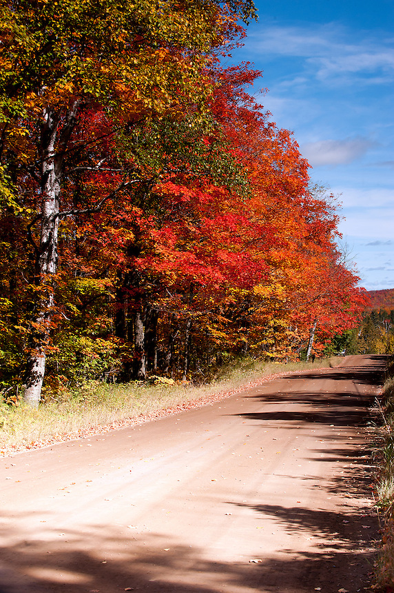 Lutsen Minnesota country road during peak fall color