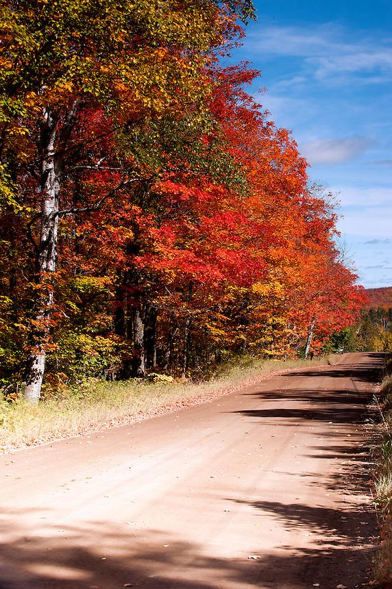 Lutsen Minnesota country road during peak fall color