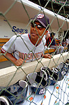 1 July 2005: Jose Guillen, outfielder for the Washington Nationals, in the dugout prior to a game against the Chicago Cubs. The visiting Nationals defeated the Cubs 4-3 at Wrigley Field in Chicago.  Mandatory Photo Credit: Ed Wolfstein