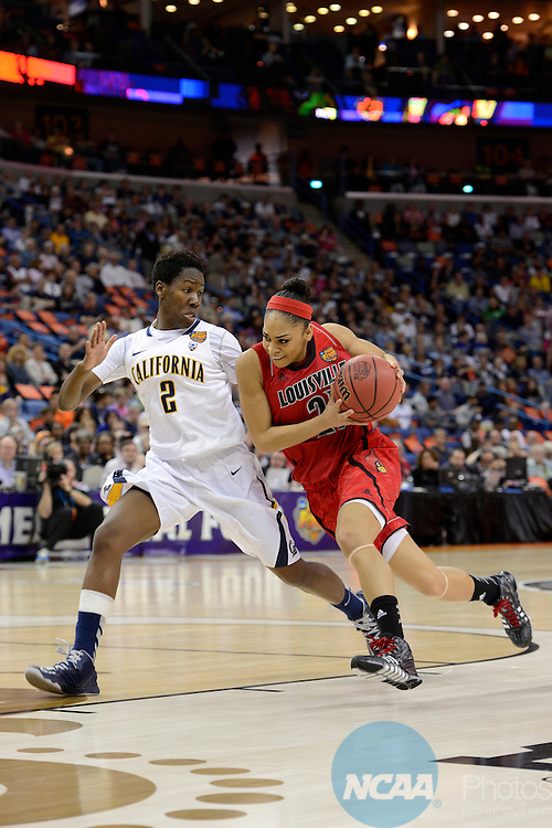 07 APR 2013:  Bria Smith (21) of the University of Louisville drives to the basket against Afure Jemerigbe (2) of the University of California during the Division I Women's Basketball Championship in New Orleans, LA.  Louisville defeated California 64-57 to advance to the national title game.  Jamie Schwaberow/NCAA Photos