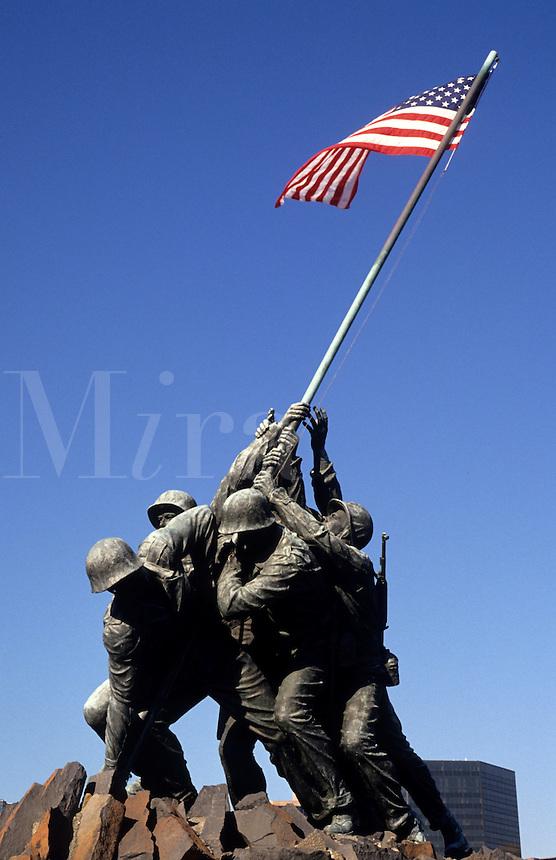 Marine Monument of Iwo Jima with flag in Virginia near Washington DC, USA