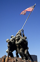 Marine Monument of Iwo Jima with flag in Virginia near Washington DC, USA